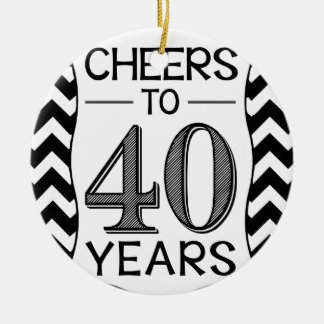 Cheers to 40 Years Round Ceramic Decoration