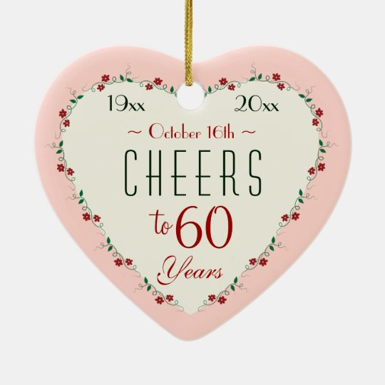 Cheers to 60th Wedding Anniversary Christmas Gifts Ceramic