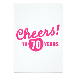 Cheers to 70 years birthday 9 cm x 13 cm invitation card