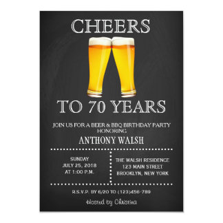 Cheers to 70 Years Birthday Chalk BBQ Invitation