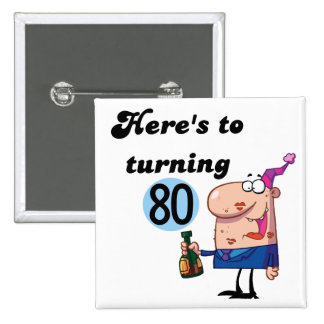 Cheers to 80 Birthday Tshirts and Gifts 15 Cm Square Badge