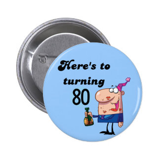 Cheers to 80 Birthday Tshirts and Gifts 6 Cm Round Badge