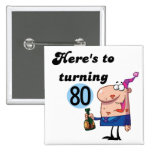 Cheers to 80 Birthday Tshirts and Gifts Badge