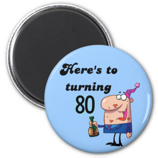 Cheers to 80 Birthday Tshirts and Gifts Refrigerator Magnets