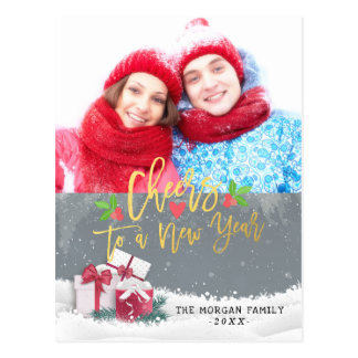 Cheers to a New Year Christmas Holiday Photo Cards