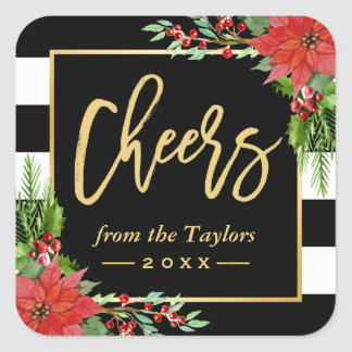 Cheers to a New Year Gold Script Poinsettia Floral Square Sticker