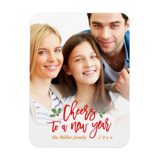 Cheers to A New Year Holiday Family Kids Photo Rectangular Photo Magnet
