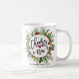 Cheers to a New Year Script Holly Wreath Greeting Coffee Mug