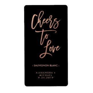 Cheers to Love | Faux Rose Gold Wedding Wine