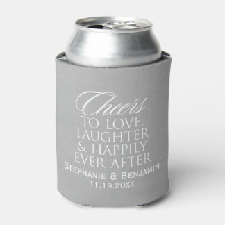 Cheers to love laughter happily ever after Wedding Can Cooler