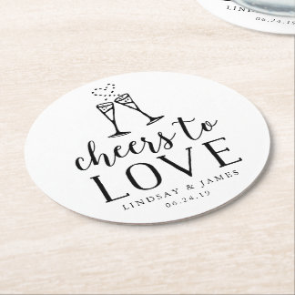 Cheers to Love Wedding Round Paper Coaster