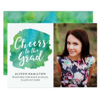 Cheers to the Grad Invitation in Green