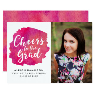 Cheers to the Grad Invitation in Pink
