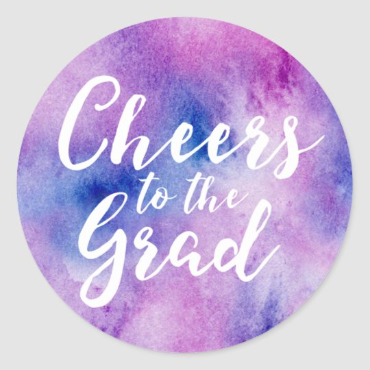 Cheers to the Grad Purple Watercolor Classic Round
