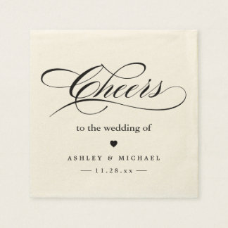 Cheers To the Wedding Simple Calligraphy Script Disposable Napkins