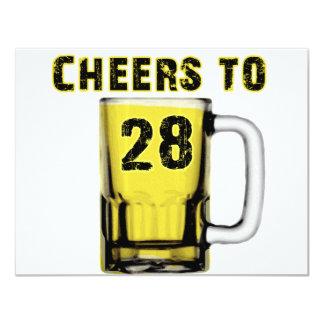 Cheers to Twenty Eight. Birthday 11 Cm X 14 Cm Invitation Card