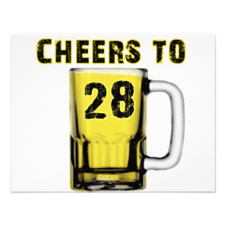 Cheers to Twenty Eight. Birthday Custom Invites