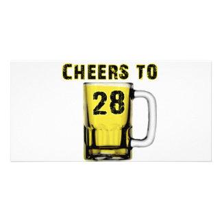 Cheers to Twenty Eight. Birthday Custom Photo Card