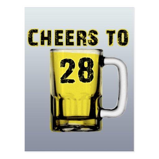 Cheers to Twenty Eight. Birthday Post Card