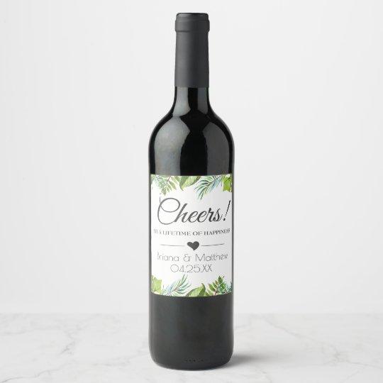 Cheers Wedding Wine Label | Tropical Leaves