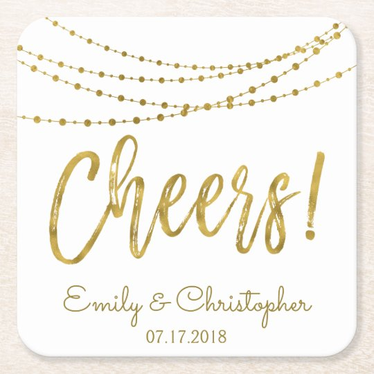 Cheers White and Gold Foil String Lights Square Paper Coaster