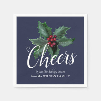 Cheers with Festive Holly Napkins Paper Napkin