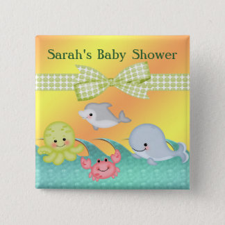Cheery Baby Sea Creatures Baby Shower 15 Cm Square Badge