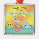 Cheery Baby Sea Creatures Baby Shower Silver-Colored Square Decoration