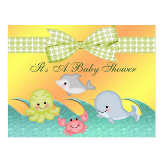 Cheery Baby Sea Creatures Baby Shower Postcard