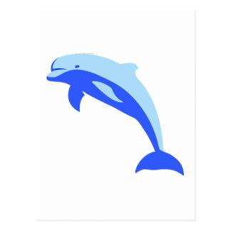Cheery Blue Jumping Dolphin Cartoon Postcard