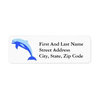 Cheery Blue Jumping Dolphin Cartoon Return Address Label