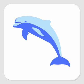 Cheery Blue Jumping Dolphin Cartoon Stickers