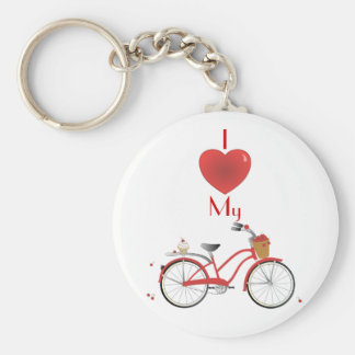 Cheery Cherry Bicycle Basic Round Button Key Ring