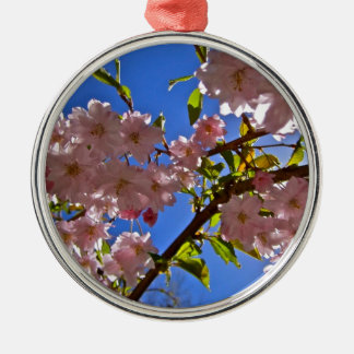 Cheery Cherry Blossoms Silver-Colored Round Decoration