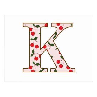 Cheery Cherry K Postcard