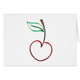 Cheery Cherry Outline on White Card