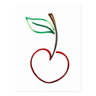 Cheery Cherry Outline on White Postcard