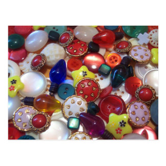 Cheery Christmas Button Collage Postcard