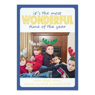 Cheery Christmas Card (Blue / Gold) 13 Cm X 18 Cm Invitation Card