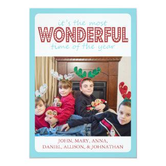 Cheery Christmas Card (Burgandy / Teal) 13 Cm X 18 Cm Invitation Card