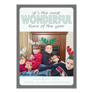 Cheery Christmas Card (Gray / Mint Green) 13 Cm X 18 Cm Invitation Card