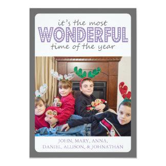 Cheery Christmas Card (Gray / Purple) 13 Cm X 18 Cm Invitation Card