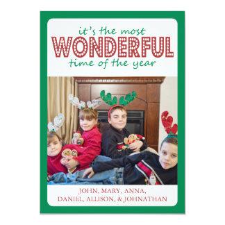 Cheery Christmas Card (Green / Burgandy) 13 Cm X 18 Cm Invitation Card