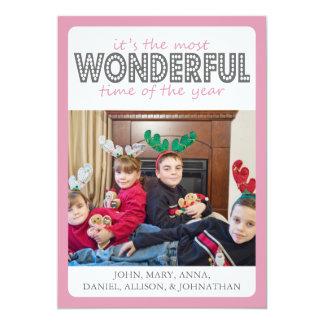 Cheery Christmas Card (Pink / Gray) 13 Cm X 18 Cm Invitation Card