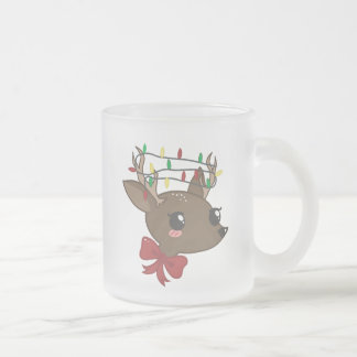 Cheery Deer Frosted Glass Mug