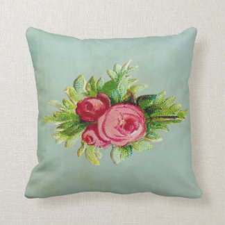 Cheery Floral on Aqua Throw Pillow