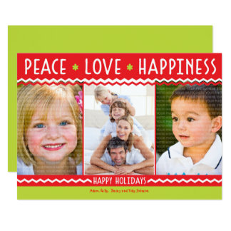 Cheery Holiday Chevron Stripes 3 Photo Card