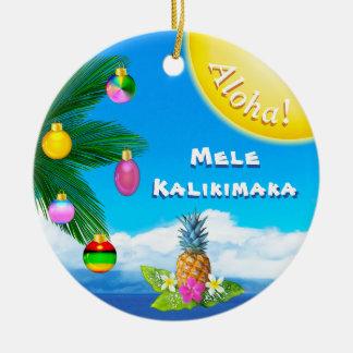 Cheery Mele Kalikimaka Ornaments, 2 Sided Christmas Ornament