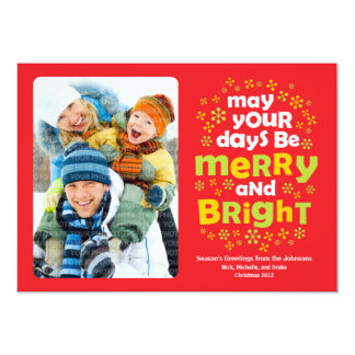 Cheery Merry & Bright Christmas Photo Card 13 Cm X 18 Cm Invitation Card