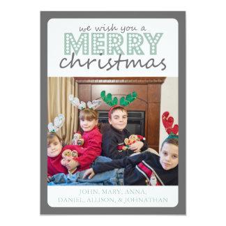 Cheery Merry Christmas Card (Gray / Mint Green) 13 Cm X 18 Cm Invitation Card